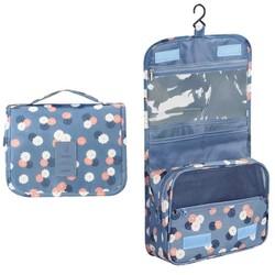 Fako Fashion® - Toilettas Met Haak - Travel Bag - Organizer Voor Toiletartikelen - Reisartikelen - Travel Bag - Ophangbare Toilettas - Bloemen Lichtblauw
