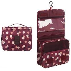 Fako Fashion® - Toilettas Met Haak - Travel Bag - Organizer Voor Toiletartikelen - Reisartikelen - Travel Bag - Ophangbare Toilettas - Bloemen Bordeaux