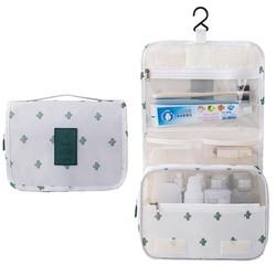 Fako Fashion® - Toilettas Met Haak - Travel Bag - Organizer Voor Toiletartikelen - Reisartikelen - Travel Bag - Ophangbare Toilettas - Cactus Wit