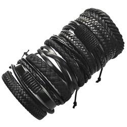 Fako Bijoux® - Armband - Leder - Set Deluxe - 10 Stuks - Zwart