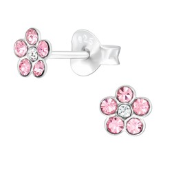 Fako Bijoux® - Kinderoorbellen - 925 Zilver - Bloem - Kristal - 5x5mm - Roze