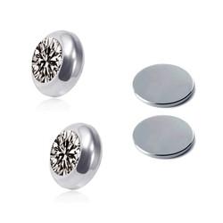 Fako Bijoux® - Oorbellen - Magneet - Magnetisch - RVS - 8mm - Kristal - Grijs