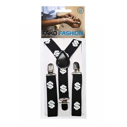 Fako Fashion® - Kinder Bretels - Print - Dollars - 65cm - Zwart/Wit