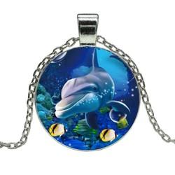 Fako Bijoux® - Ketting - Cabochon - Dolfijn