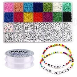 Fako Bijoux® - DIY Kralen Set Basic - Letterkralen & Glas Zaad Kralen -  Sieraden Maken - 3mm - 5000 Stuks