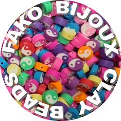 Fako Bijoux® - Klei Kralen Yin Yang Mix - Figuurkralen - Kleikralen - 10mm - 100 Stuks