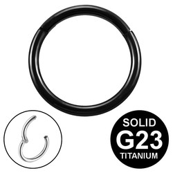 Fako Bijoux® - Chirurgisch Stalen Ring Piercing - Diameter 8mm - Dikte 1.2mm - Ringetje geschikt voor Helix, Tragus, Septum, Lip, Neus & Wenkbrauw - Zwart