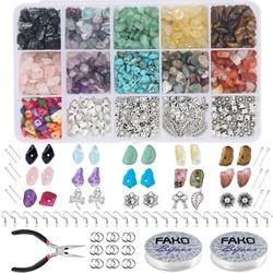 Fako Bijoux® - DIY Natuursteen Set - Stukjes Natuursteen - Sieraden Maken - 933-Delig Set