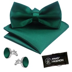 Fako Fashion® - Vlinderstrik, Pochette & Manchetknopen - Vlinderdas - Strikje - Pochet -  Donkergroen