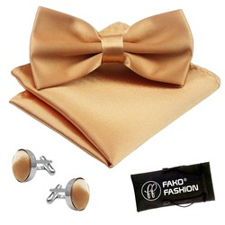 Fako Fashion® - Vlinderstrik, Pochette & Manchetknopen - Vlinderdas - Strikje - Pochet - Champagne