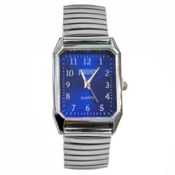 Fako® - Horloge - Rekband - Featurely - 27x38mm - Zilverkleurig - Blauw