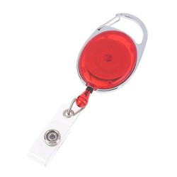 Fako Bijoux® - Uittrekbare Sleutelhanger Met Koord / Rolspeld / Yoyo / Jojo / Skipashouder - Nylon - 36x56mm - Transparant - Rood