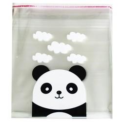 Fako Bijoux® - 100x Transparante Uitdeelzakjes XL - Cellofaan Plastic Traktatie Kado Zakjes - Snoepzakjes - Panda - 14x14cm