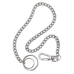 Fako Bijoux® - Sleutelketting - Broekketting - Portemonnee Ketting - 38cm - Zilverkleurig