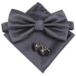 Fako Fashion® - Vlinderstrik, Pochette & Manchetknopen DLX - Vlinderdas - Strikje - Pochet - Donkergrijs