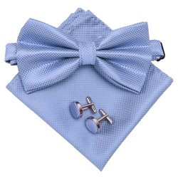 Fako Fashion® - Vlinderstrik, Pochette & Manchetknopen DLX - Vlinderdas - Strikje - Pochet - Lichtblauw