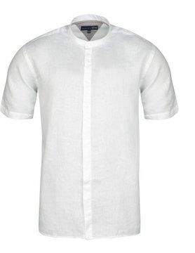 Le grenier du lin hemd met korte mouw Mao kraag