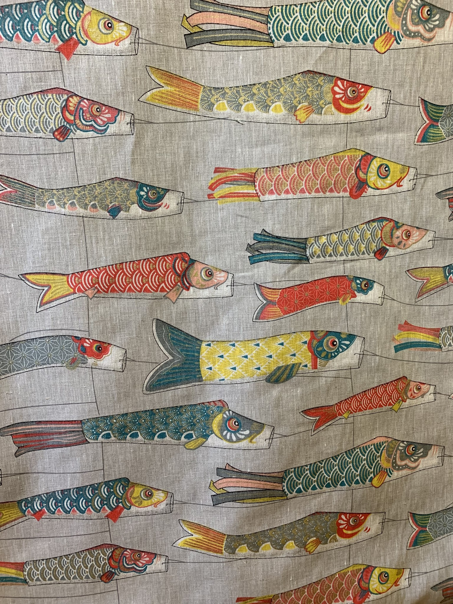 "Le grenier du lin Fabric ""kite with fish"""
