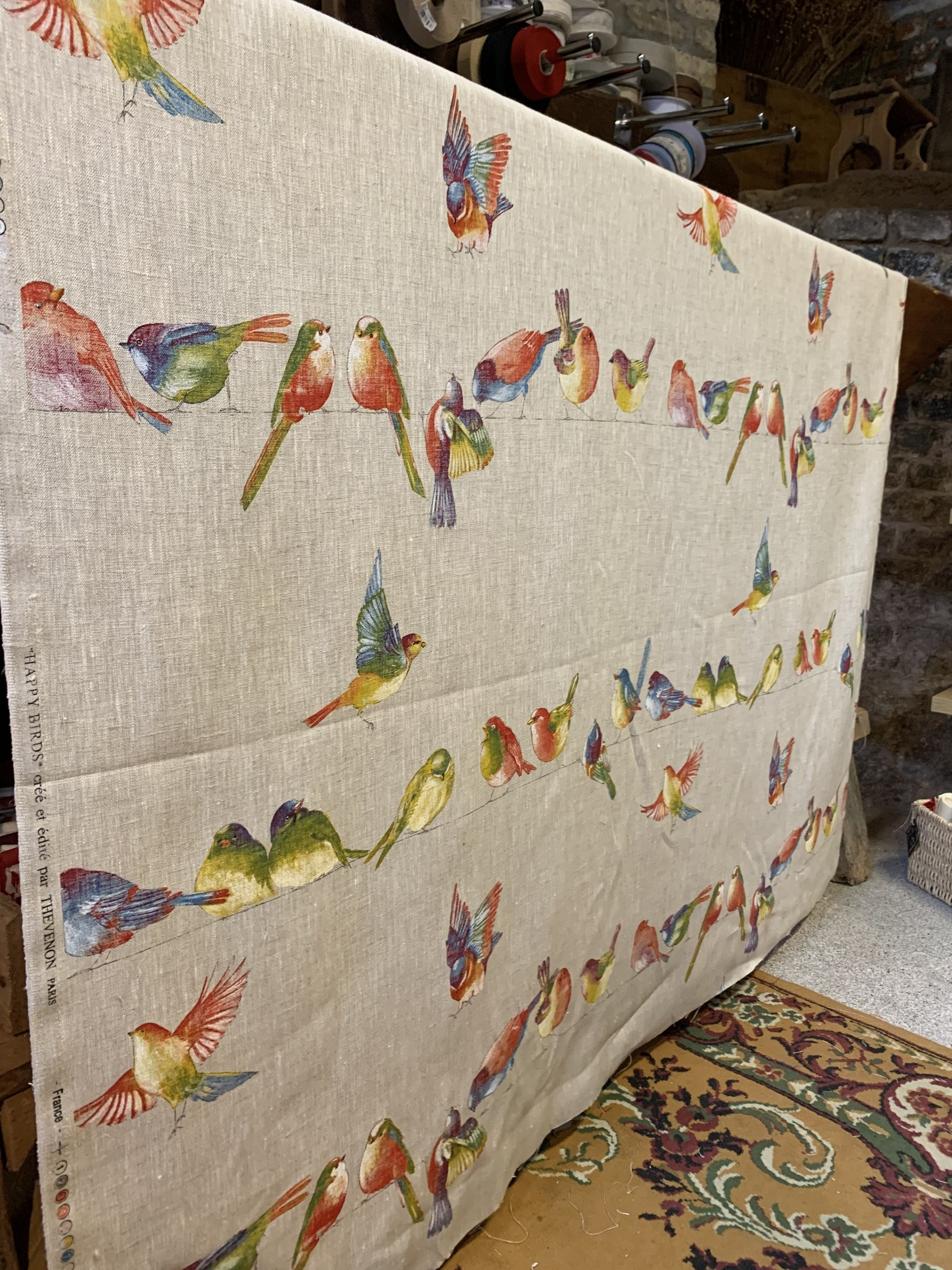 "Le grenier du lin Fabric ""Happy Birds"""