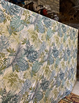 "Le grenier du lin Fabric ""Jungle blue"""