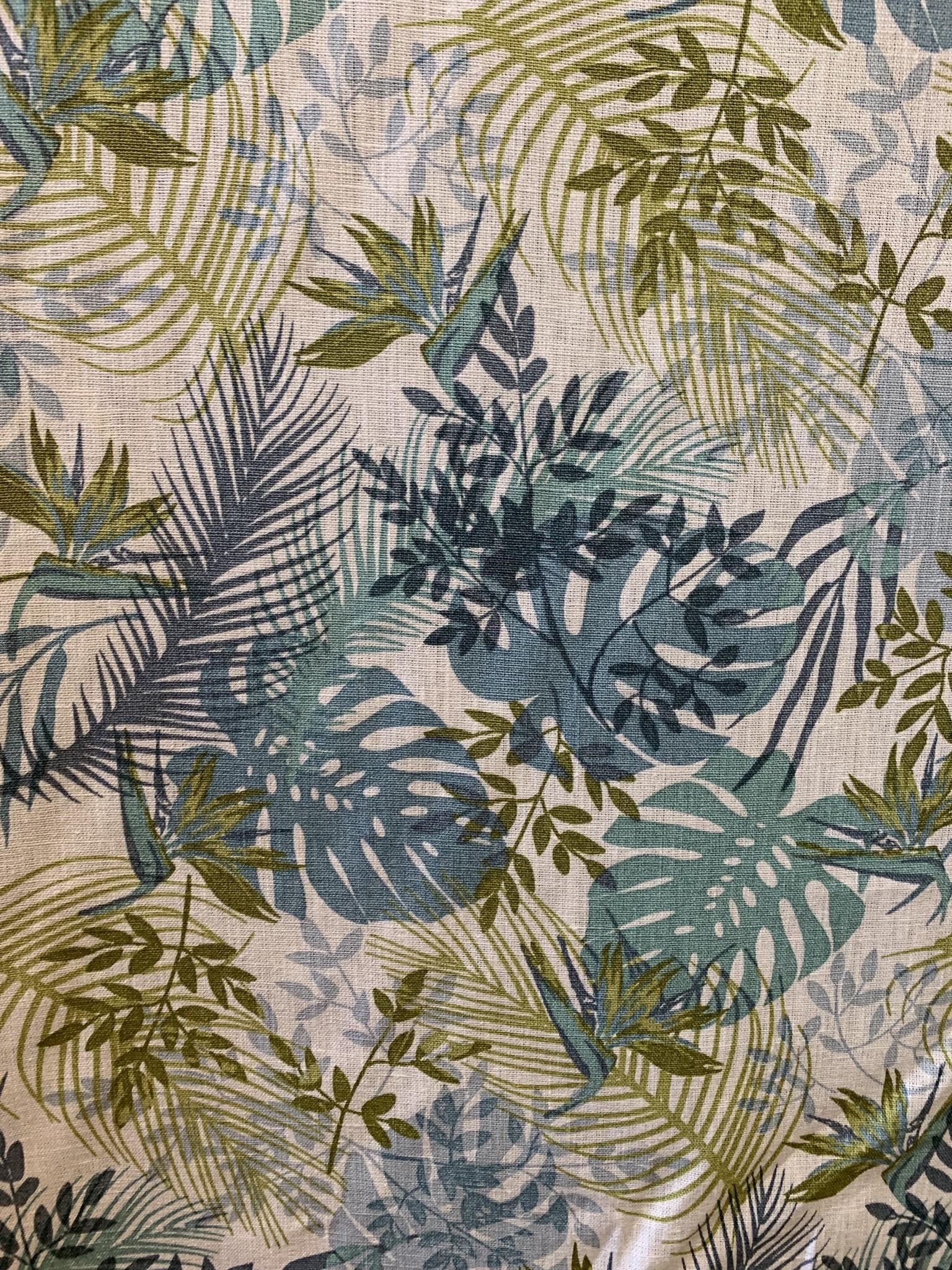 """Le grenier du lin Tissu""""Jungle bleue"""""""