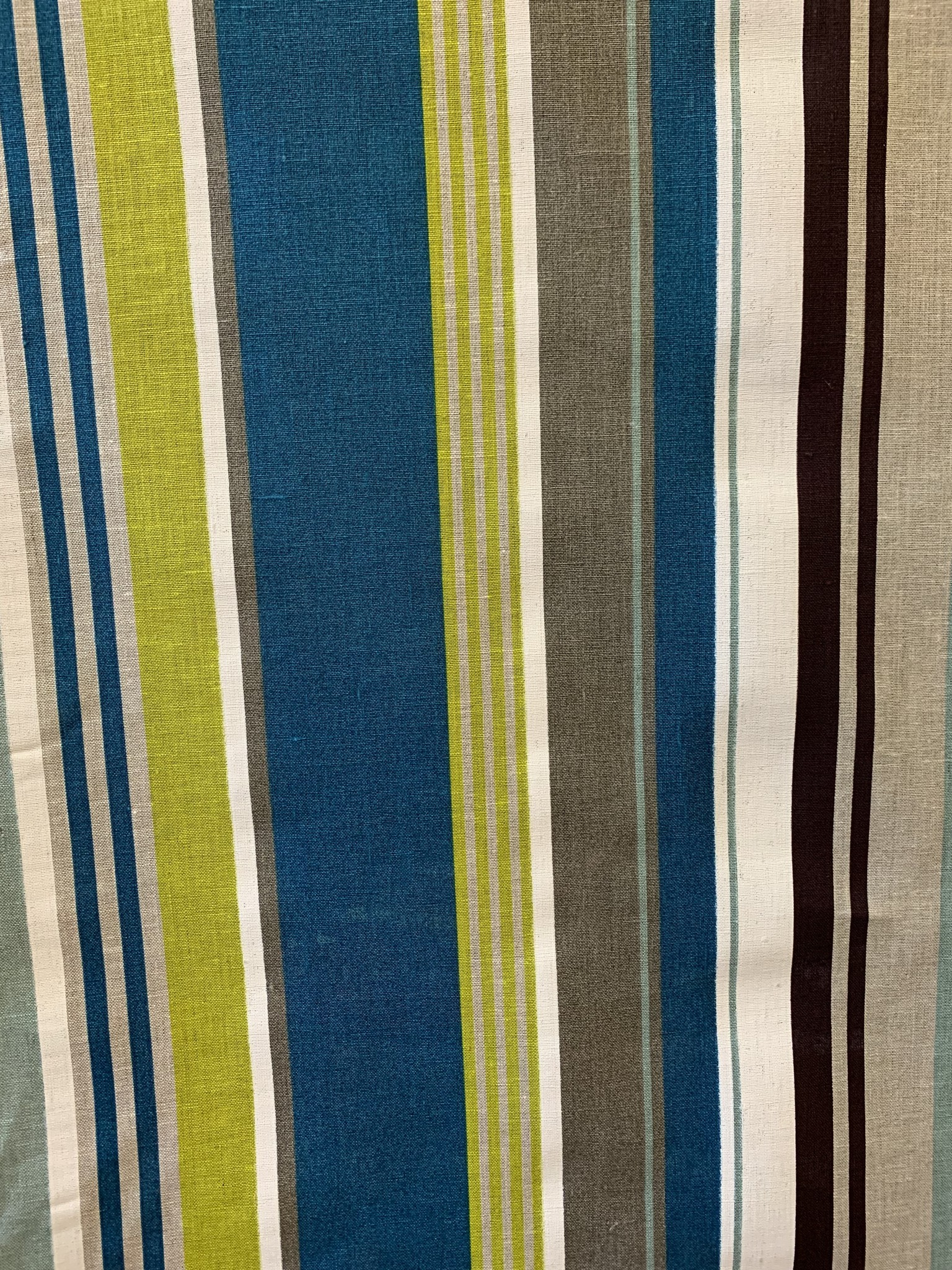 "Le grenier du lin Fabric ""turquoise and green striped"""
