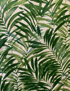 "Le grenier du lin Fabric ""Palm leaves green"""