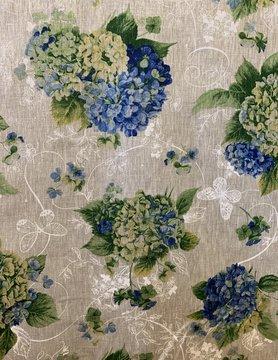 "Le grenier du lin Tissu ""Hortensia bleu"""