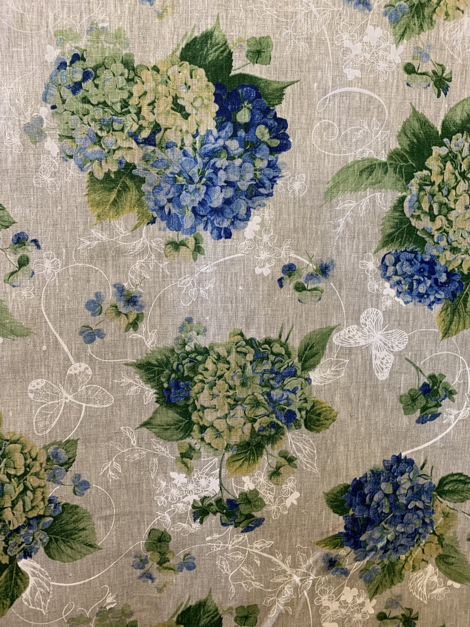 "Le grenier du lin Fabric ""Hydrangea blue"""