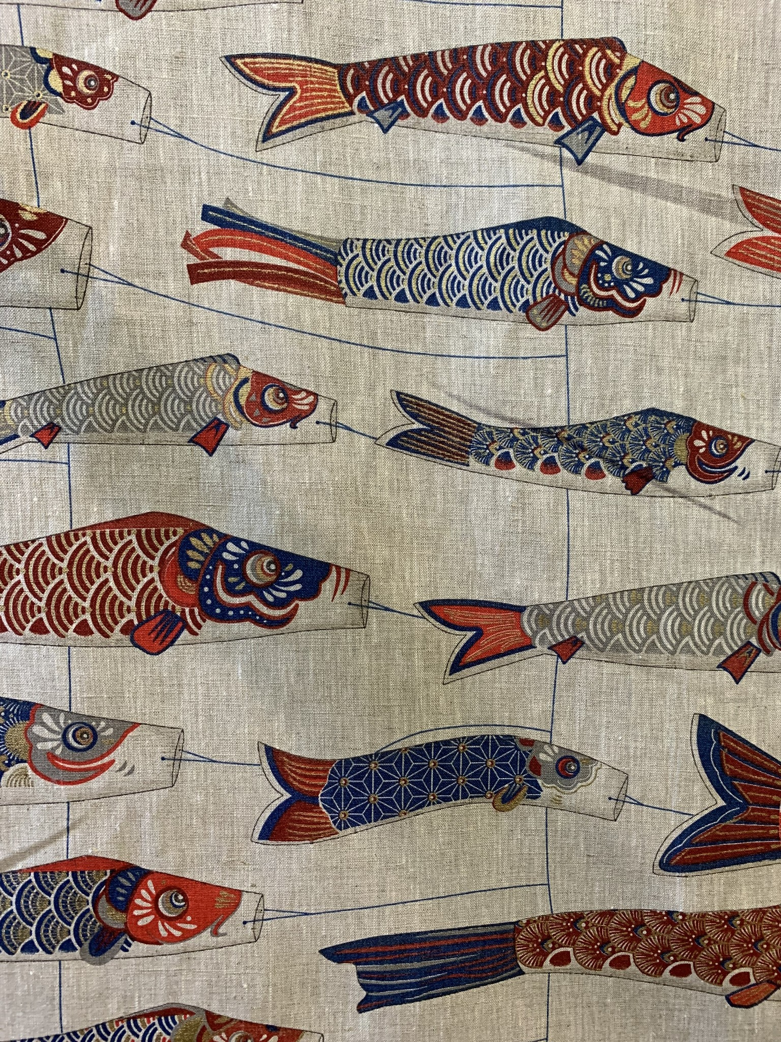 "Le grenier du lin Fabric ""Fish kite  red and blue"""