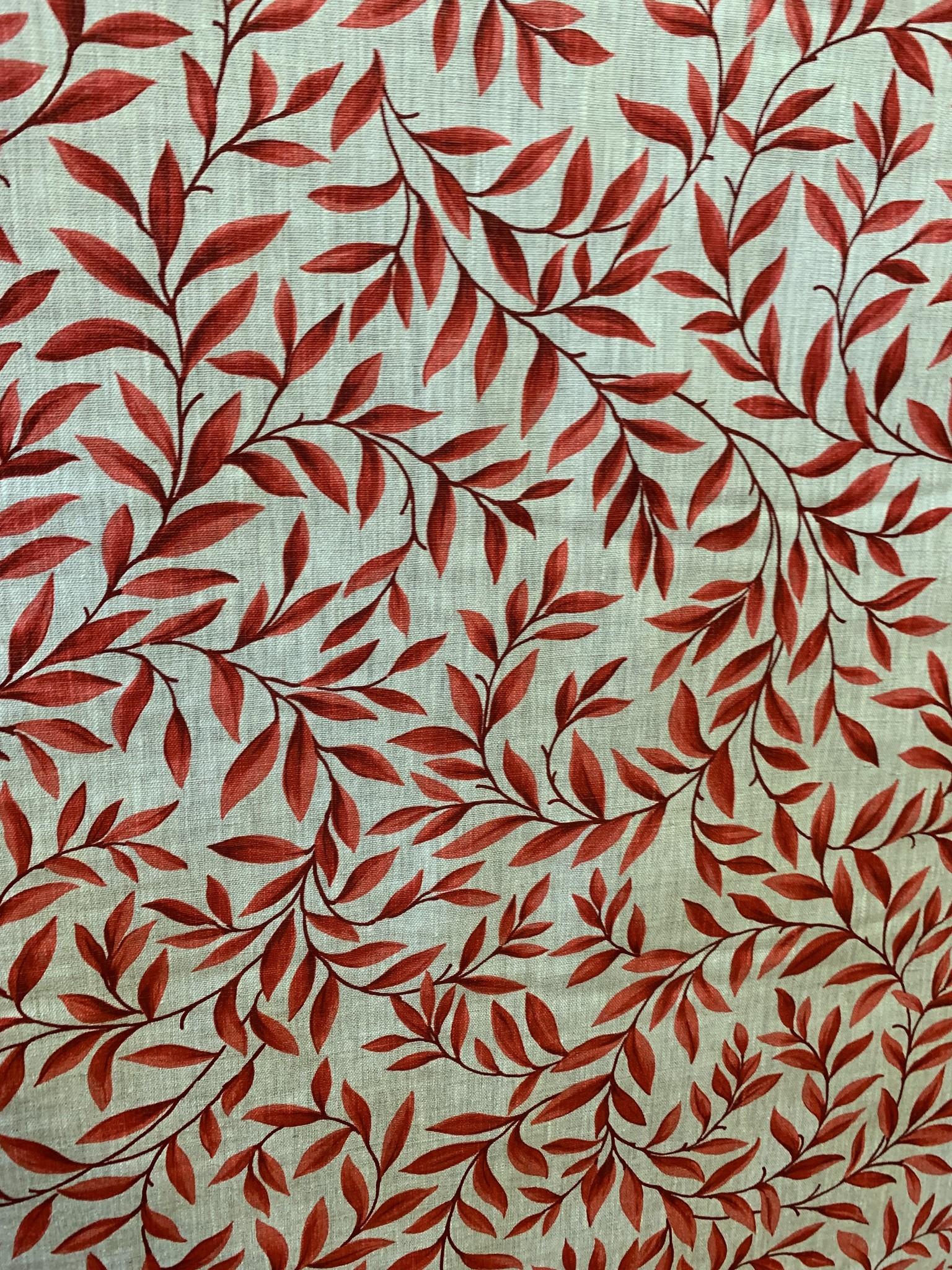"Le grenier du lin Fabric ""Leaves red"""