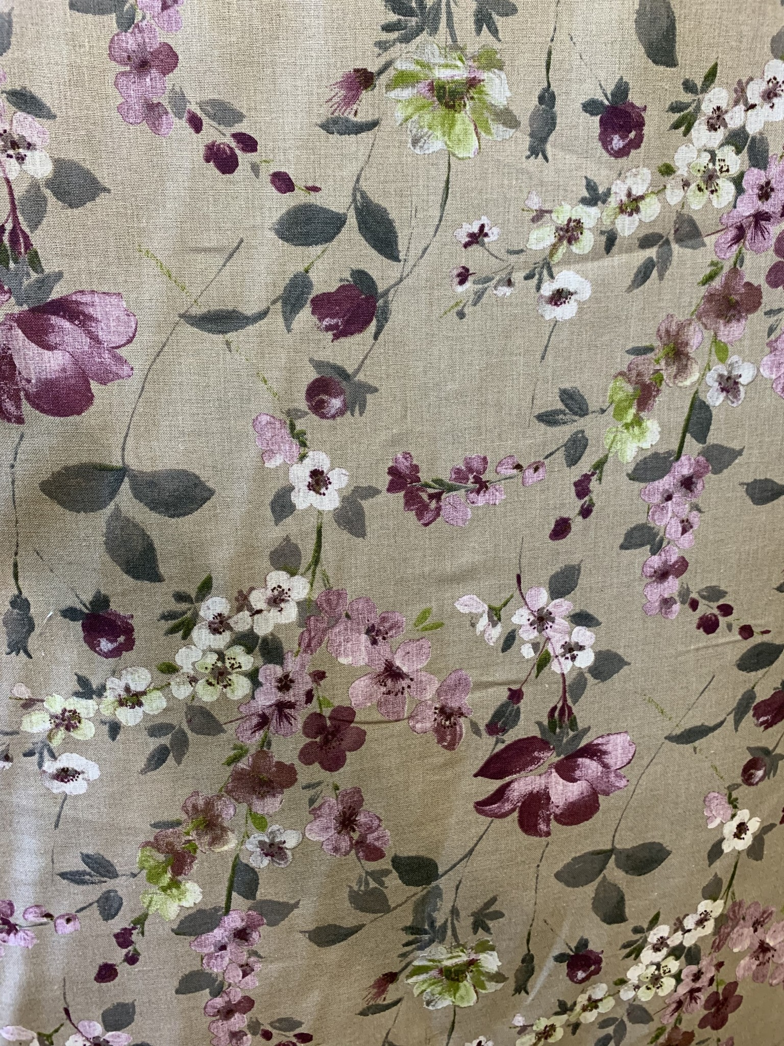 "Le grenier du lin Tissu ""Fleuri mauve"""