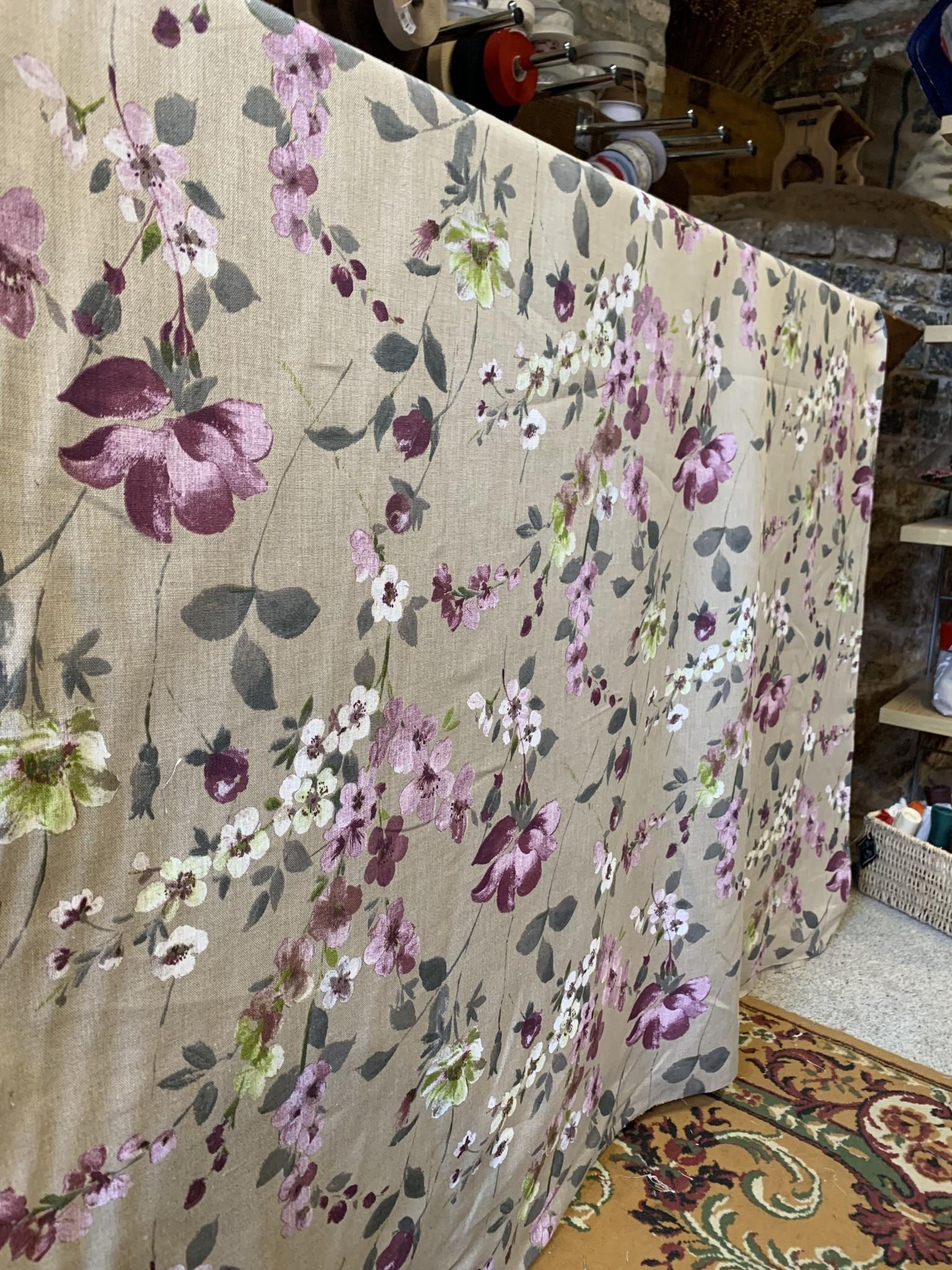 """Le grenier du lin Fabric """"flowery mauve """""""