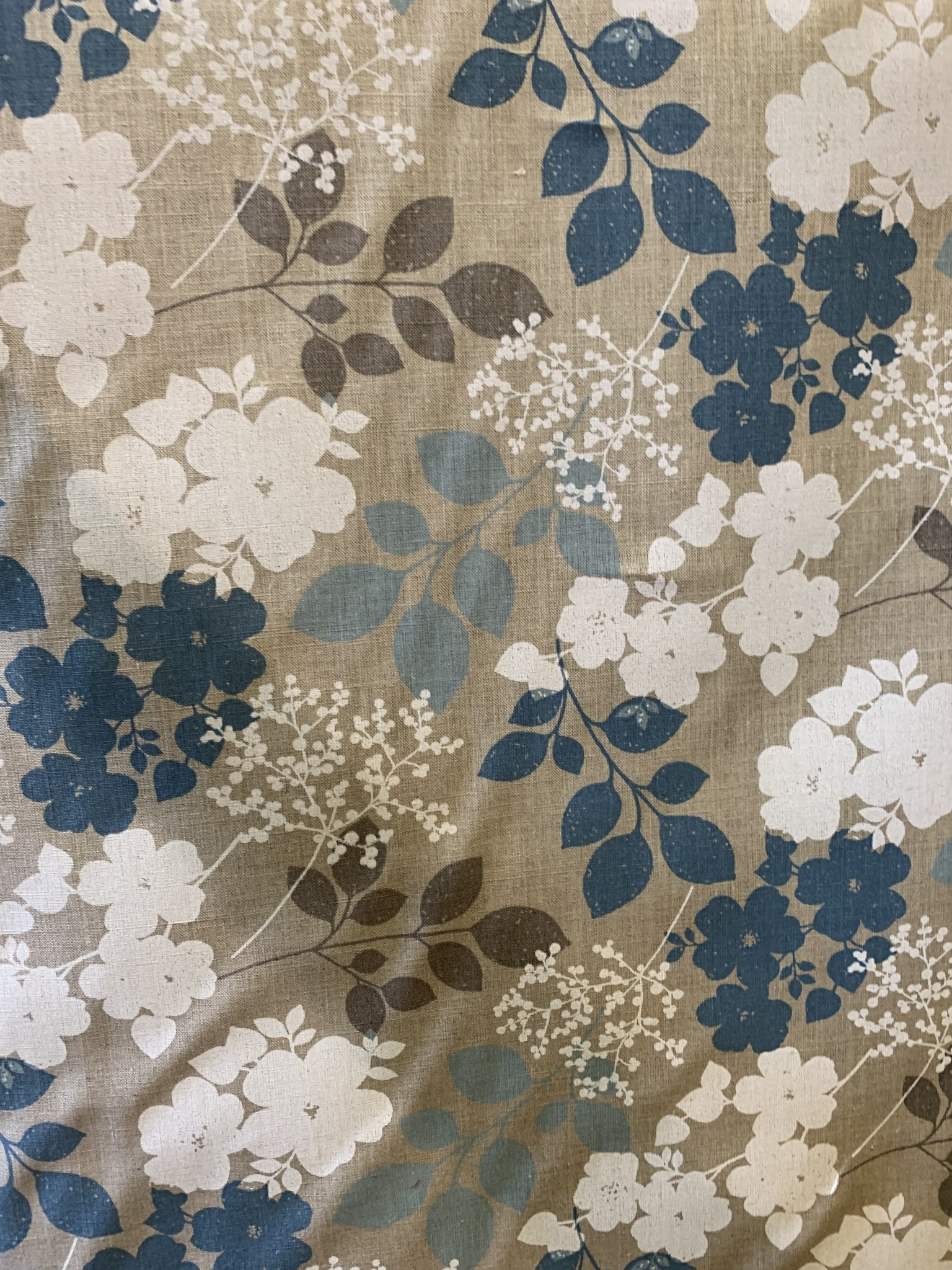 "Le grenier du lin Fabric ""Flowery blue"""