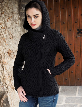 """Aran Crafts Sweater with zipper on the side and  cape """"Aran Crafts"""""""