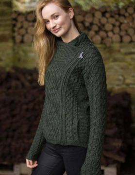 Aran Crafts Cardigan with zipper on the side