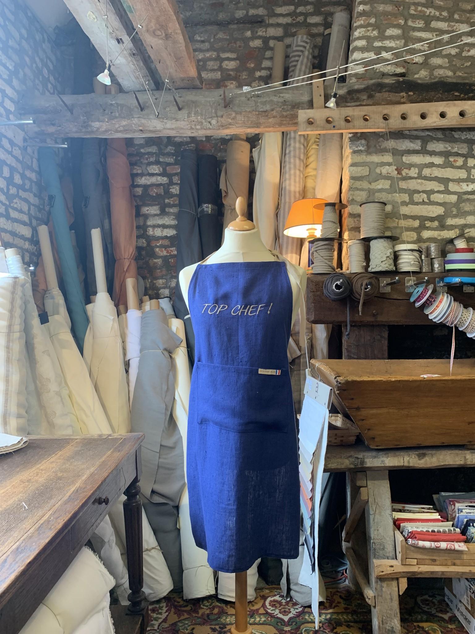 """Le grenier du lin Apron """"Top chef"""" blue"""