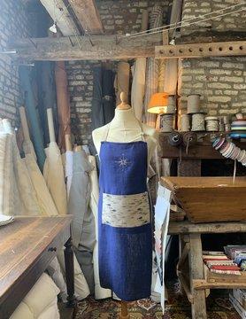 Le grenier du lin Apron blue with fish pocket