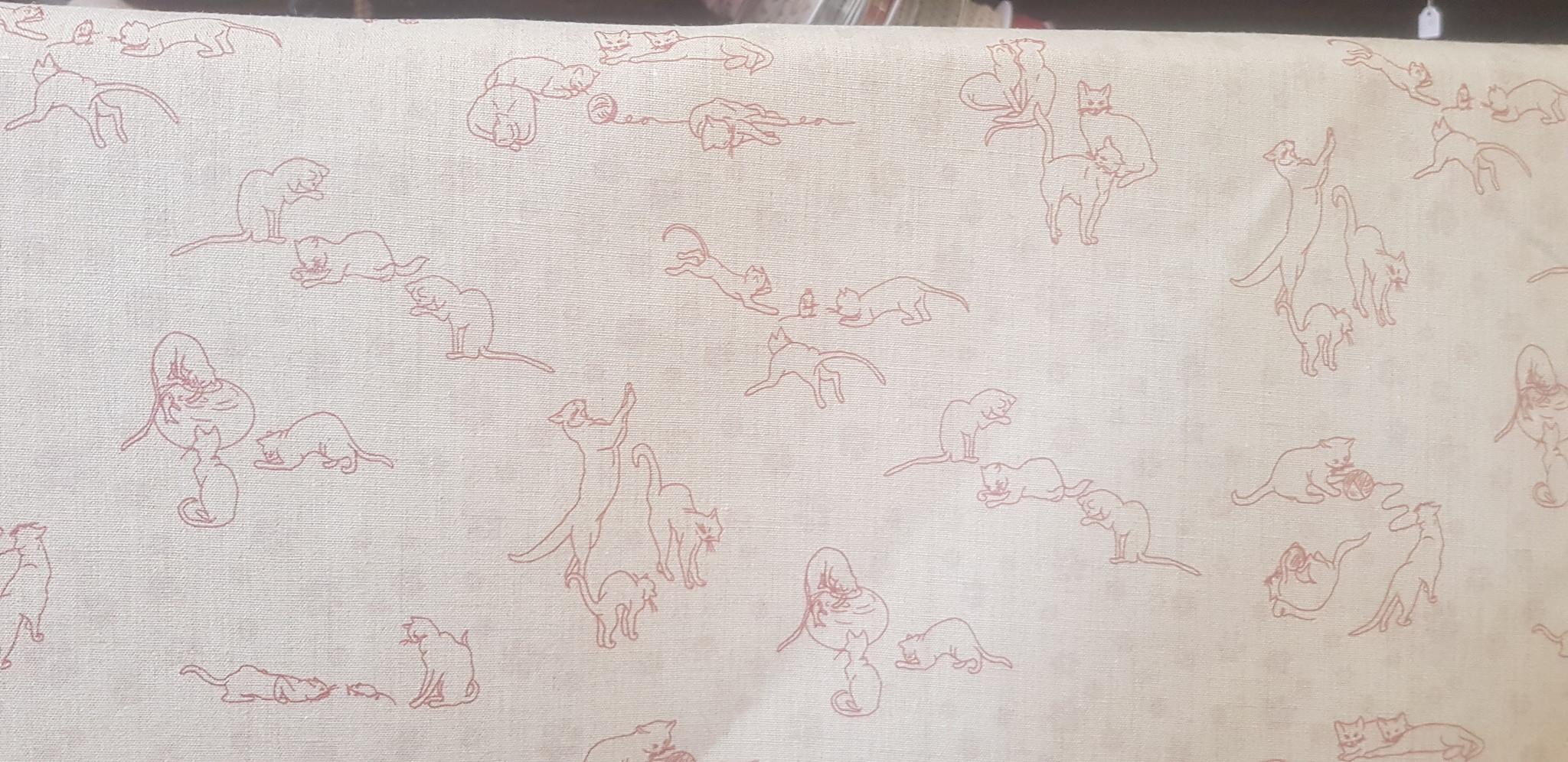 Le grenier du lin Stof met rode kittens