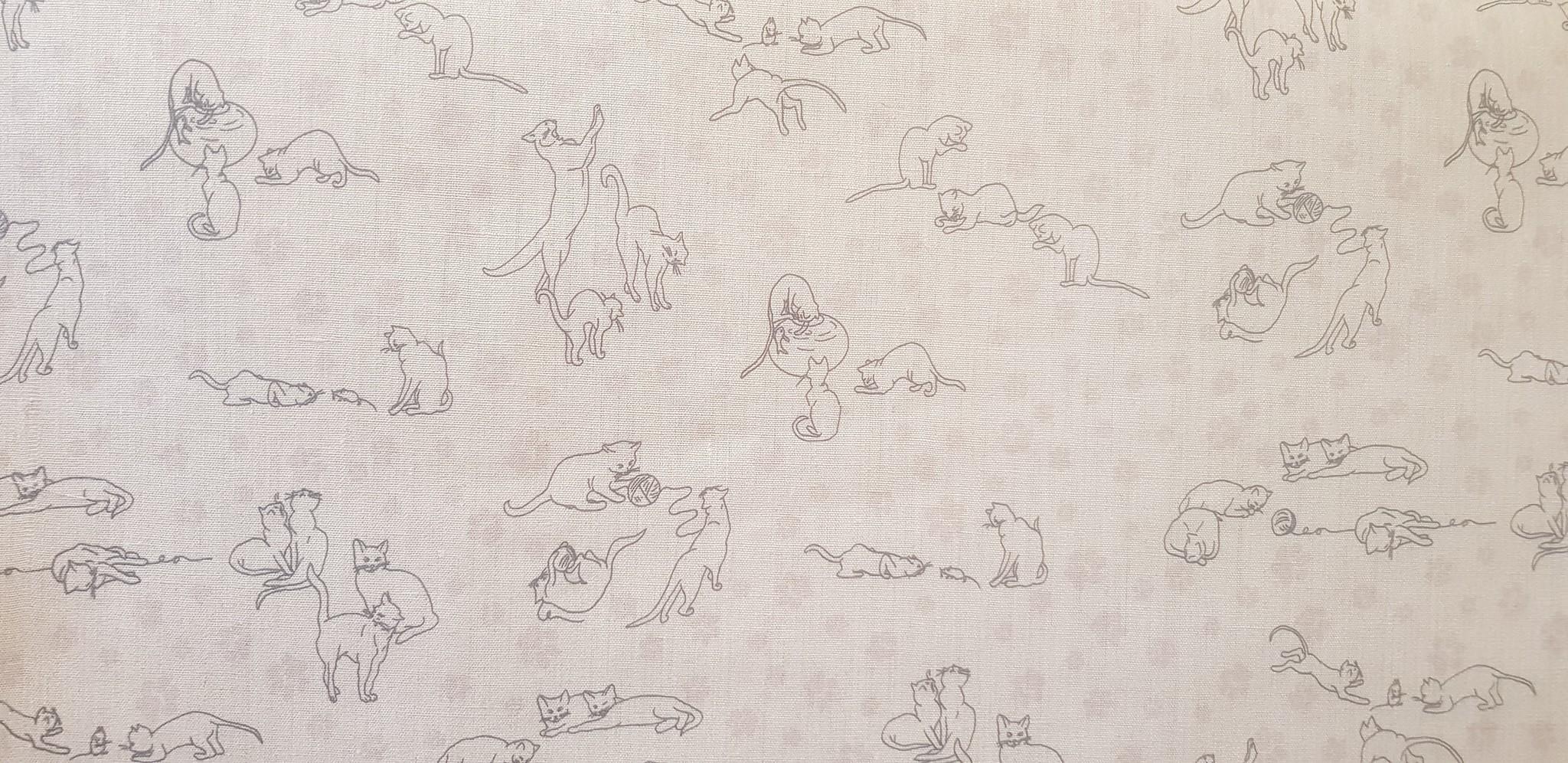 Le grenier du lin Grijze stof met katjes