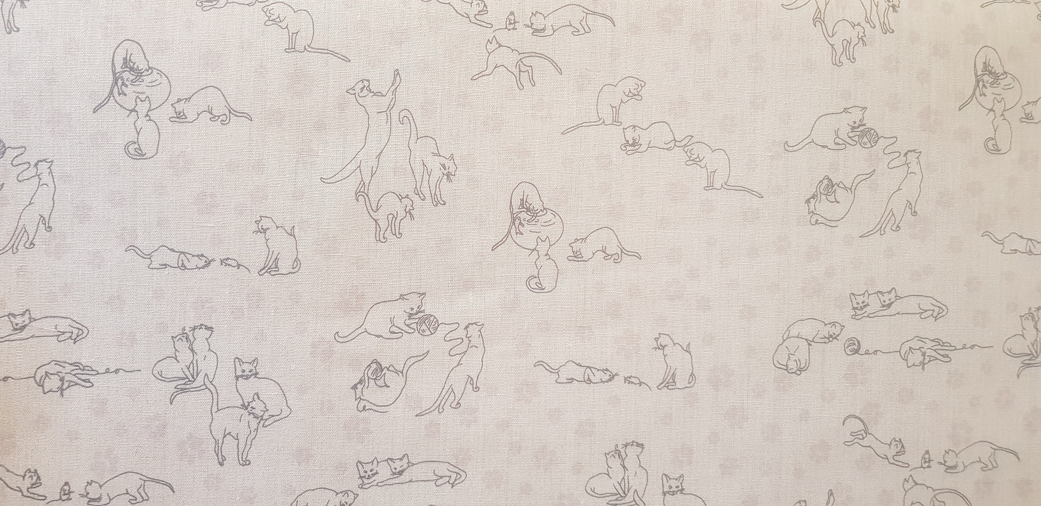 Le grenier du lin Grey fabric with kittens