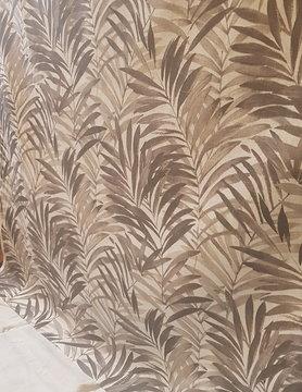 """Tissu """" feuille de palmier marron """""""