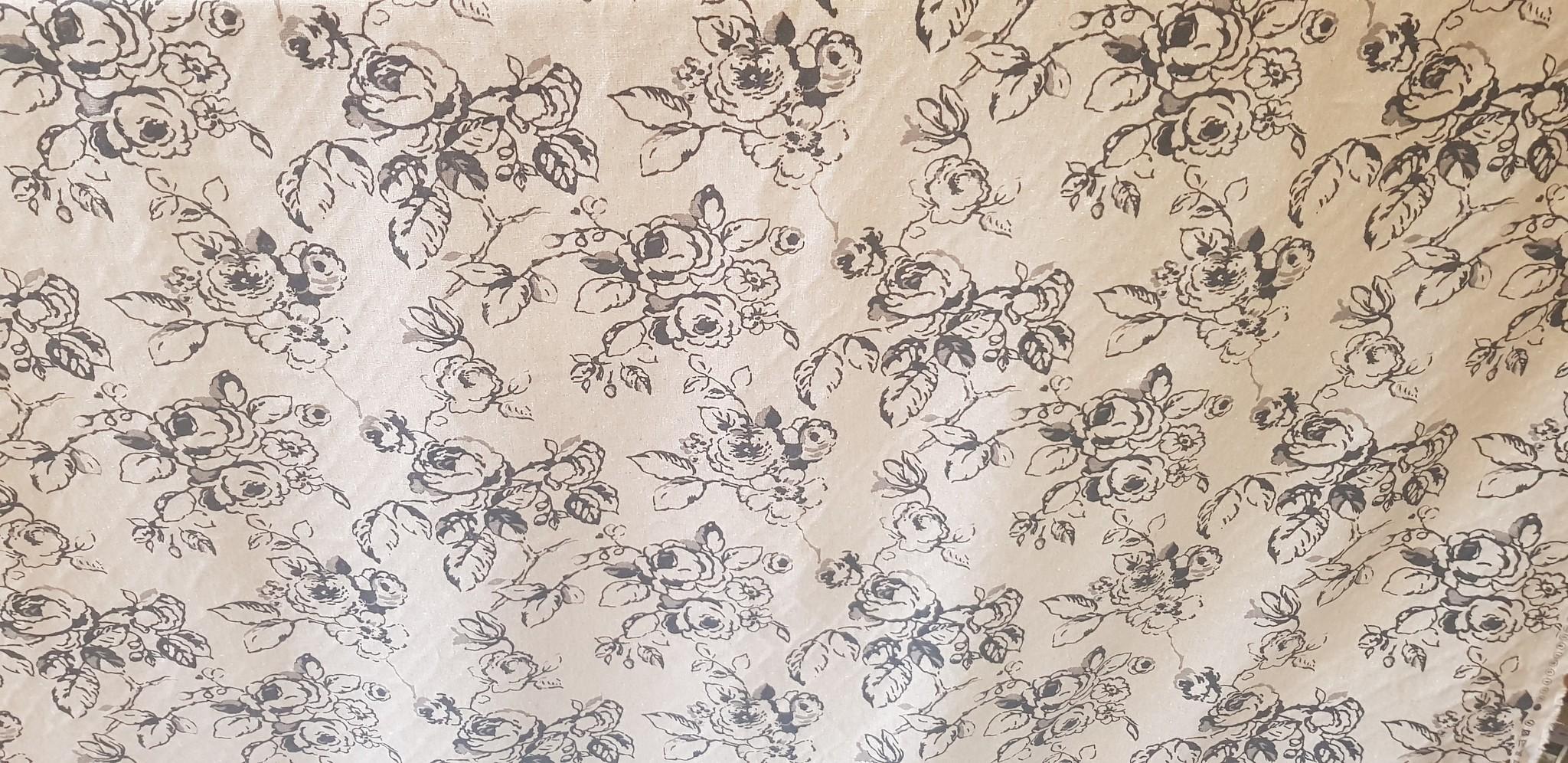 "Black rose on linen background"" fabric"