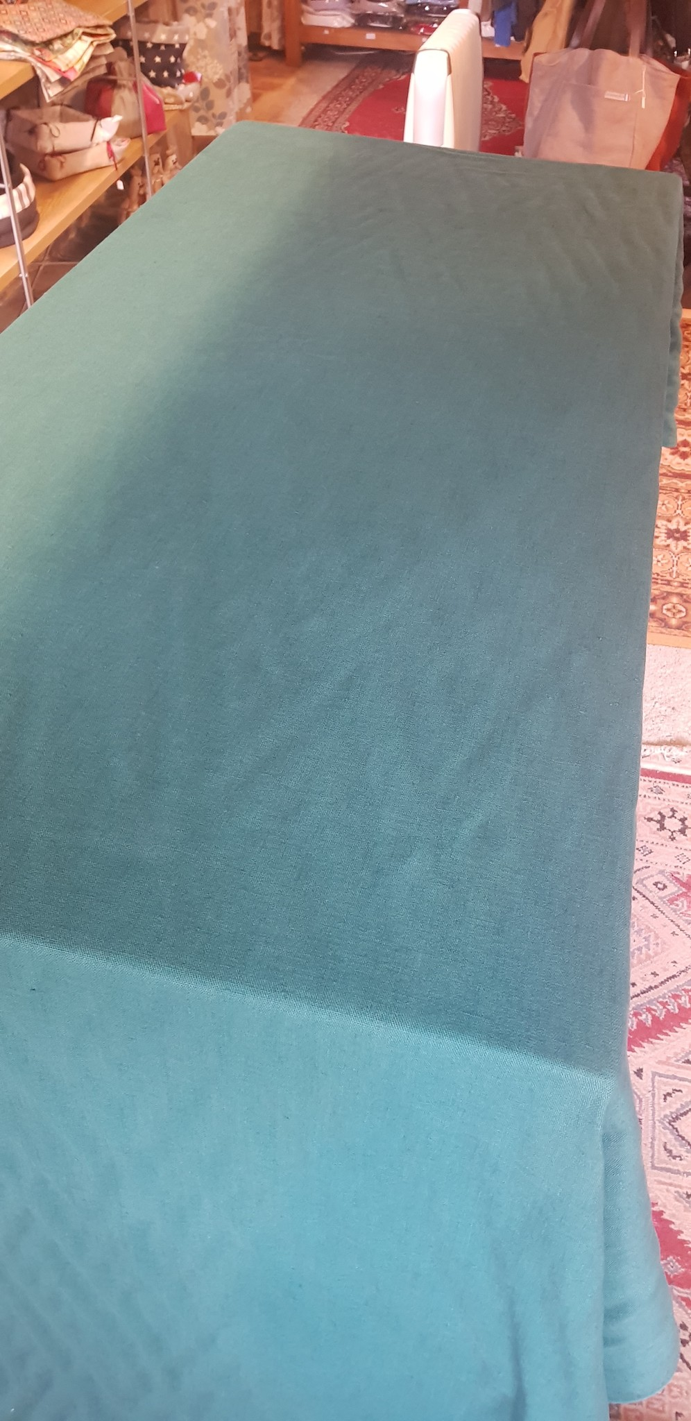 Le grenier du lin Washed linen tablecloth fir green