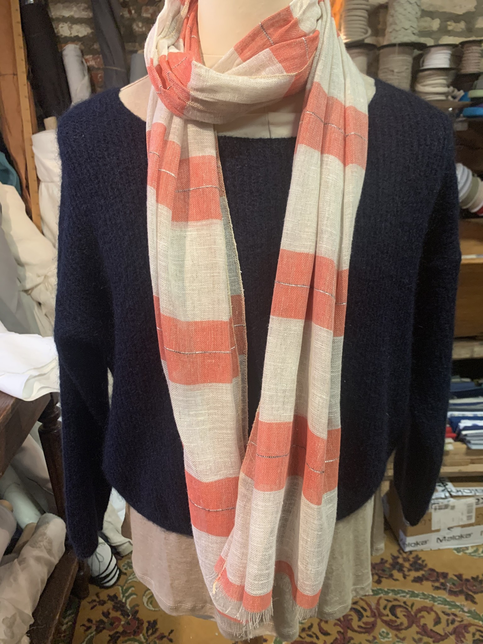 Le grenier du lin Striped scarf