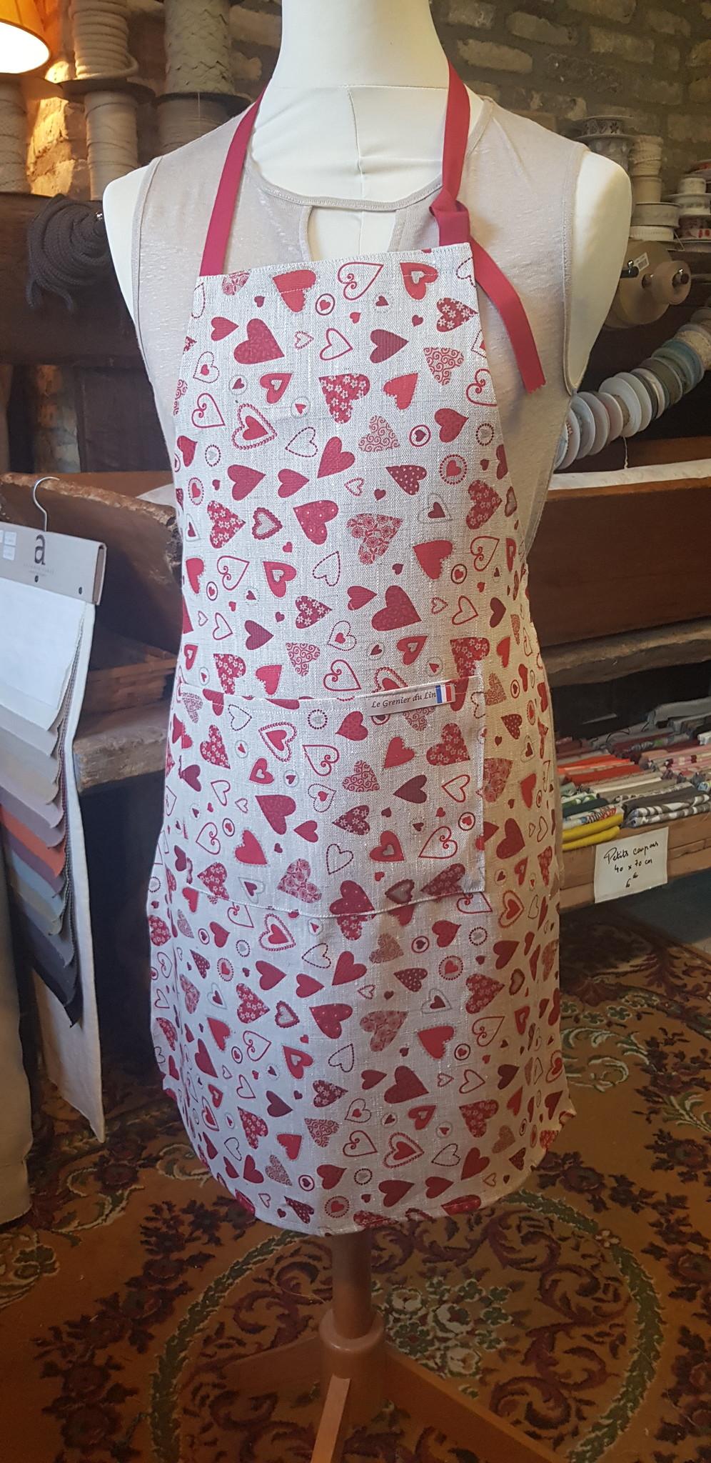 """Le grenier du lin Small hearts"""" apron"""
