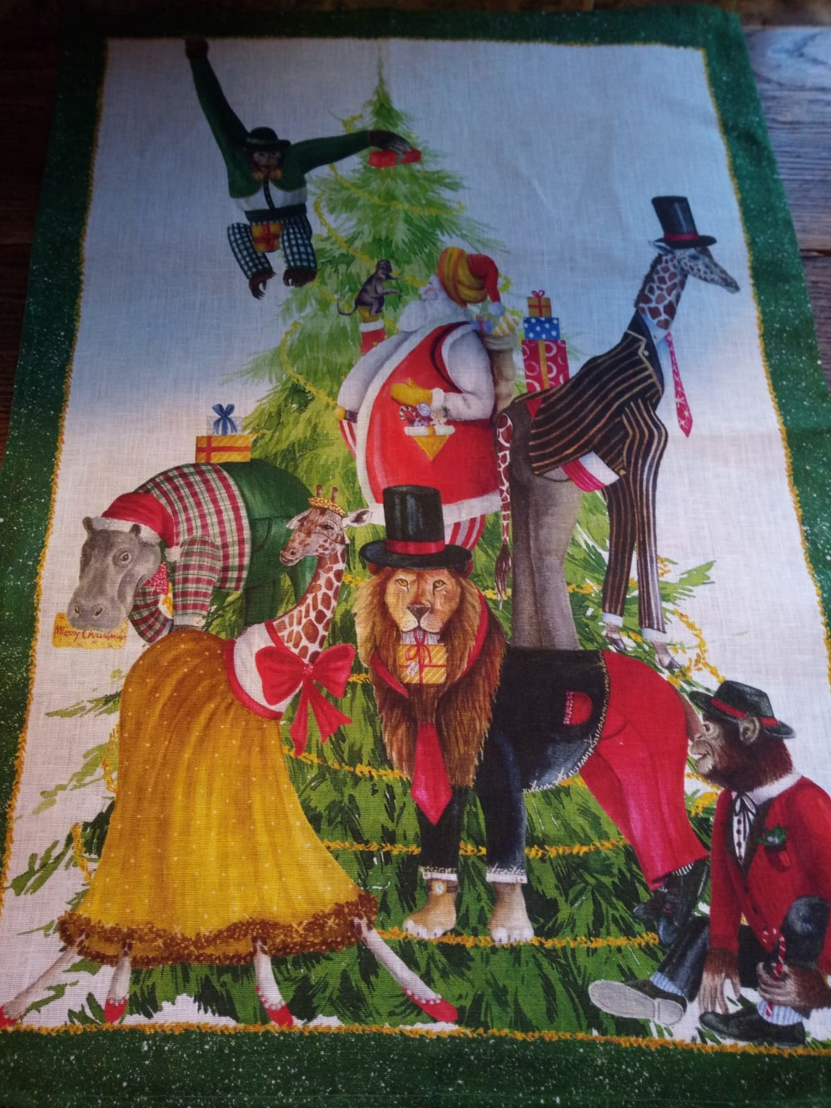 """christmas tea towel """" au cirque"""""""