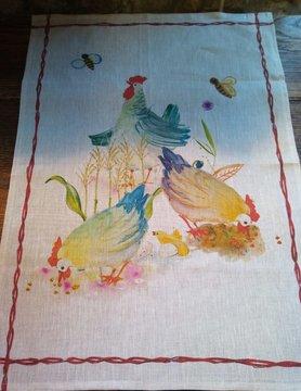 """Le grenier du lin torchon """" poule """""""