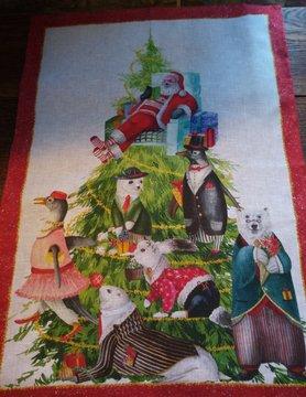 """Tea towel """"Noël des animaux"""""""