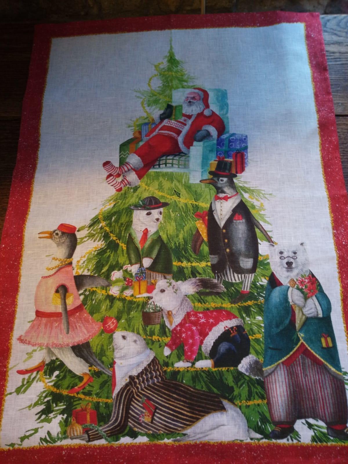 """""""Kerstmis van de dieren"""" theedoek"""